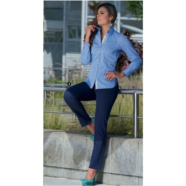 64b627f01b47 Camisa de mujer manga larga combinada en puños - color Celeste - JSN ...