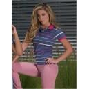 Camiseta Polo de mujer a rayas con bordado - Unicolor - JSN-600593